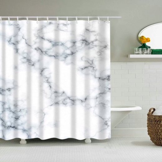 Bold White Marble Fabric Shower Curtain White Marble Shower