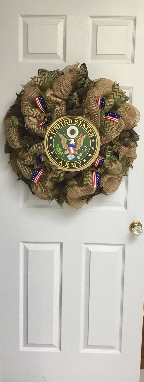 Army Strong Handmade Deco Mesh Burlap Wreath Deco mesh
