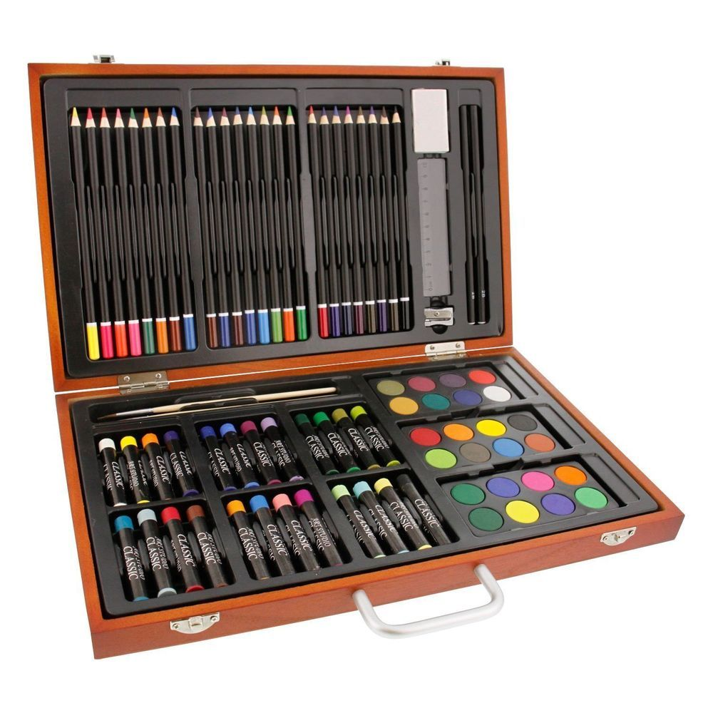 Complete Colouring And Sketch Studio Pencils Paint Brushes Box Art Artist Set UK