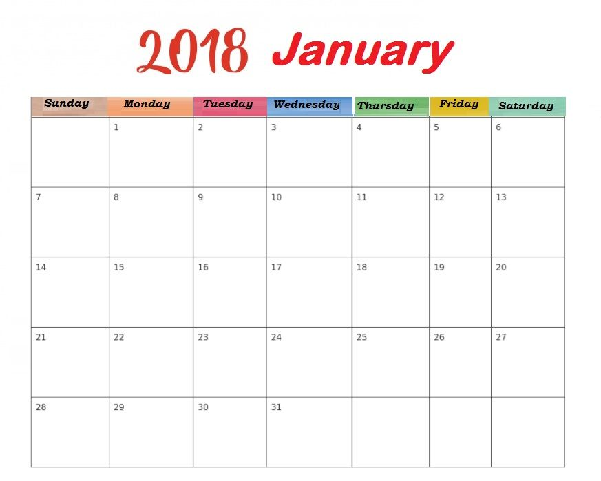 2018 January Blank Template Calendar Free Printable MaxCalendars - office calendar templates