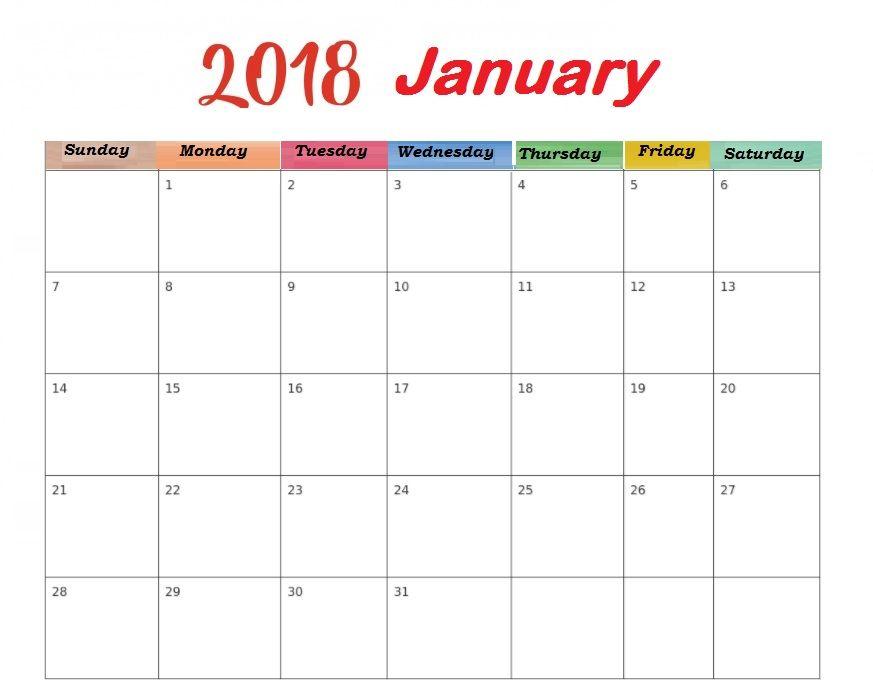 2018 January Blank Template Calendar Free Printable MaxCalendars
