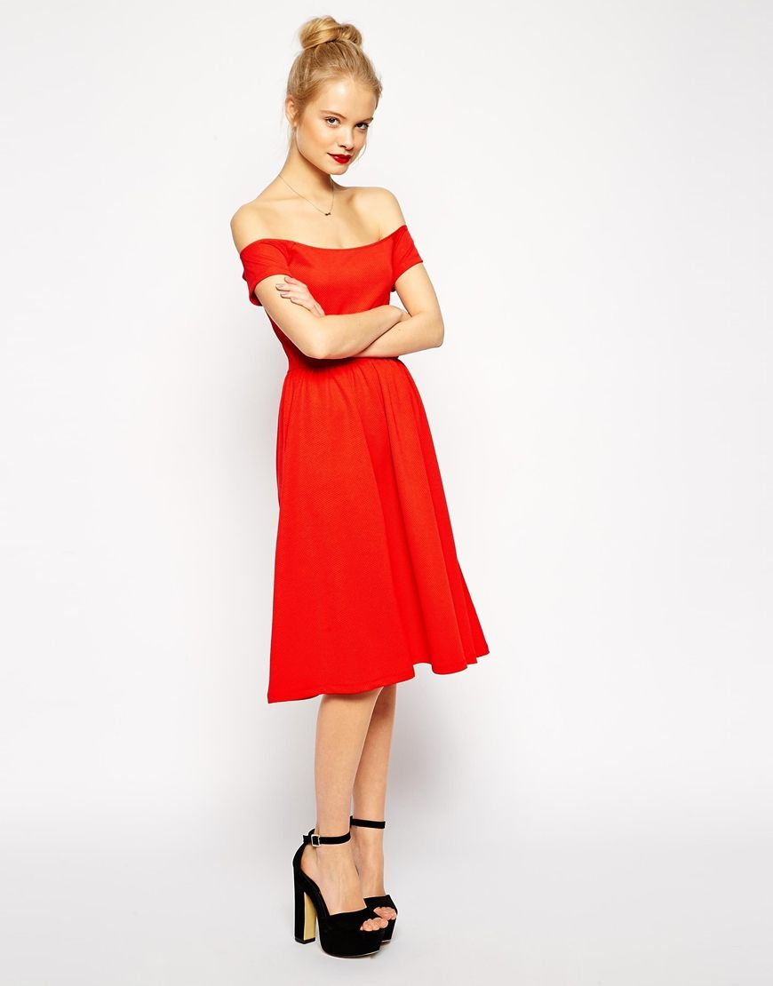 Asos midi bardot skater dress in texture red lady in red