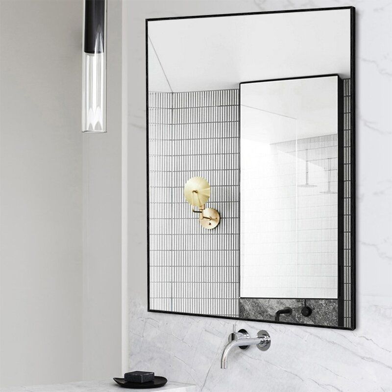 Ivy Bronx Eline Rectangular Thin Modern And Contemporary Bathroom Mirror Reviews Contemporary Bathroom Mirrors Contemporary Bathroom Vanity Bathroom Mirror