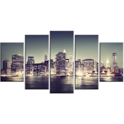 DesignArt 'Black and White New York City Night Panorama' 5 Piece Photographic Print on Wrapped Canvas Set