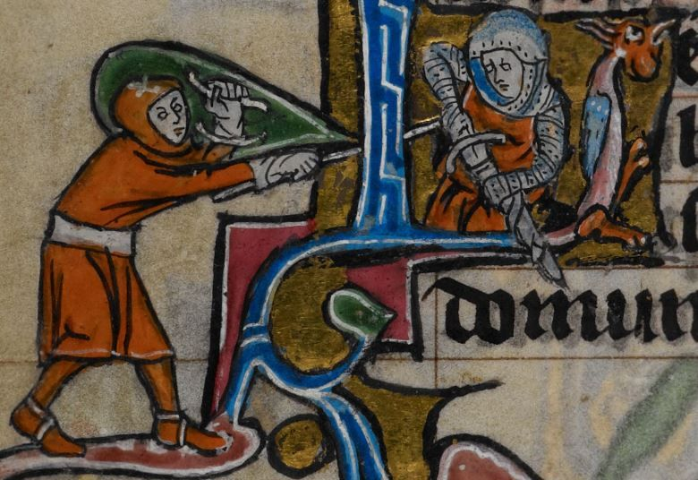 Detail from medieval manuscript, British Library Stowe MS 17 'The Maastricht Hours', f159v