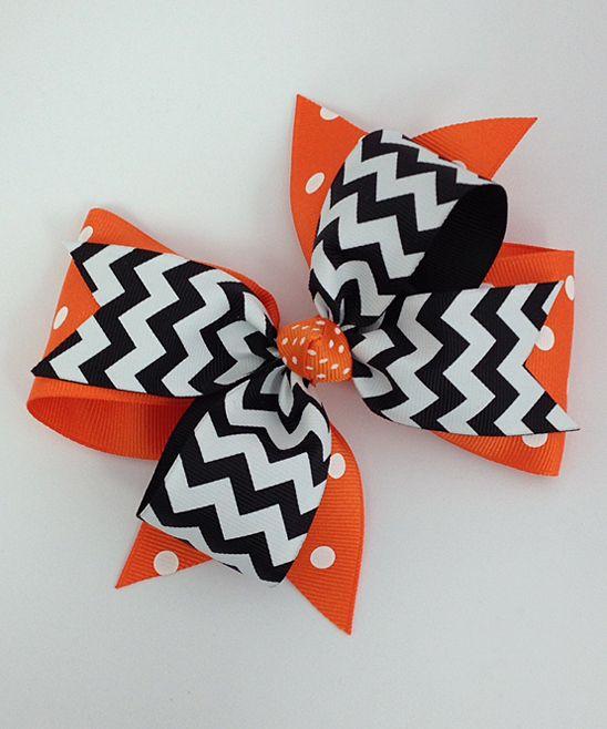 Orange & Black Halloween Chevron Large Bow