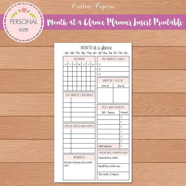 Personal Month At A Glance Monthly Planner Insert Printable Fits