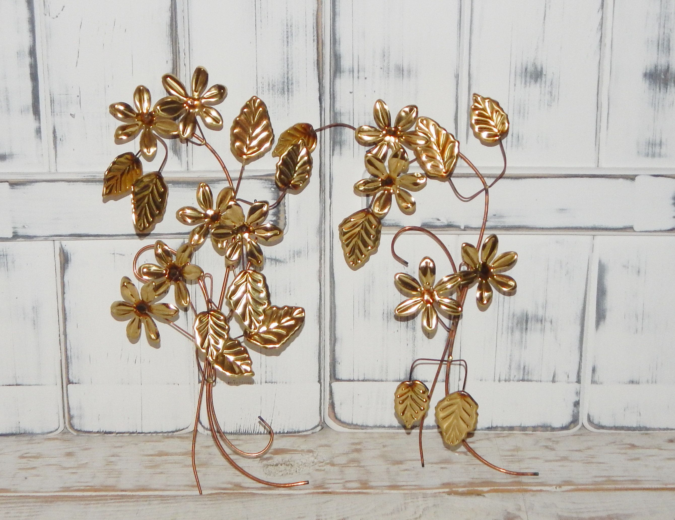 Metal Leaves Flowers Wall Decor Gold Tone Vintage Home Interiors