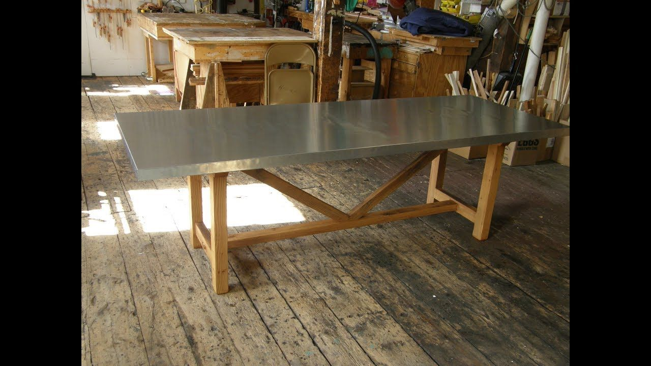 Zinc Top Trestle Table With Mortise And Tenon Complete Build Trestle Table Mortise And Tenon Table