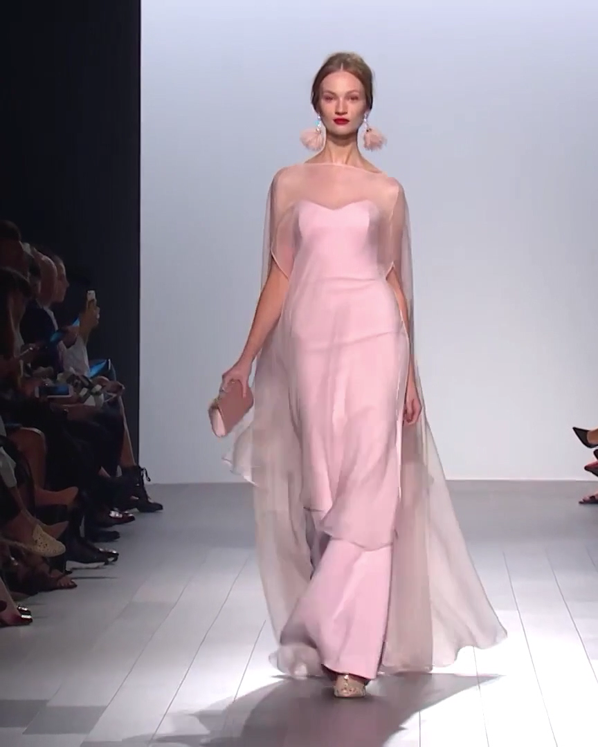 Elegant Pink Sheath Evening Maxi Dress / Evening Gown. Spring Summer 2018 Collection. Runway Show by Badgley Mischka