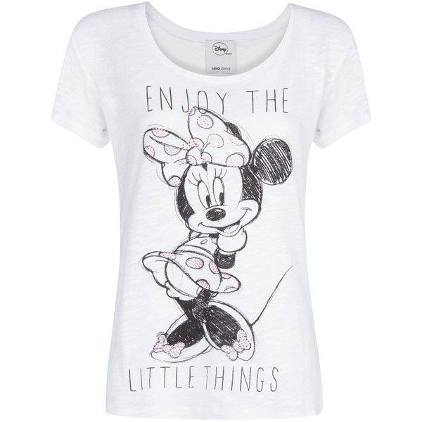 MANGO Rhinestone Disney t-shirt (16 CAD) ❤ liked on Polyvore featuring tops, t-shirts, shirts, blusas, white, rhinestone shirts, short sleeve shirts, pattern t shirt, short sleeve t shirt and white t shirt