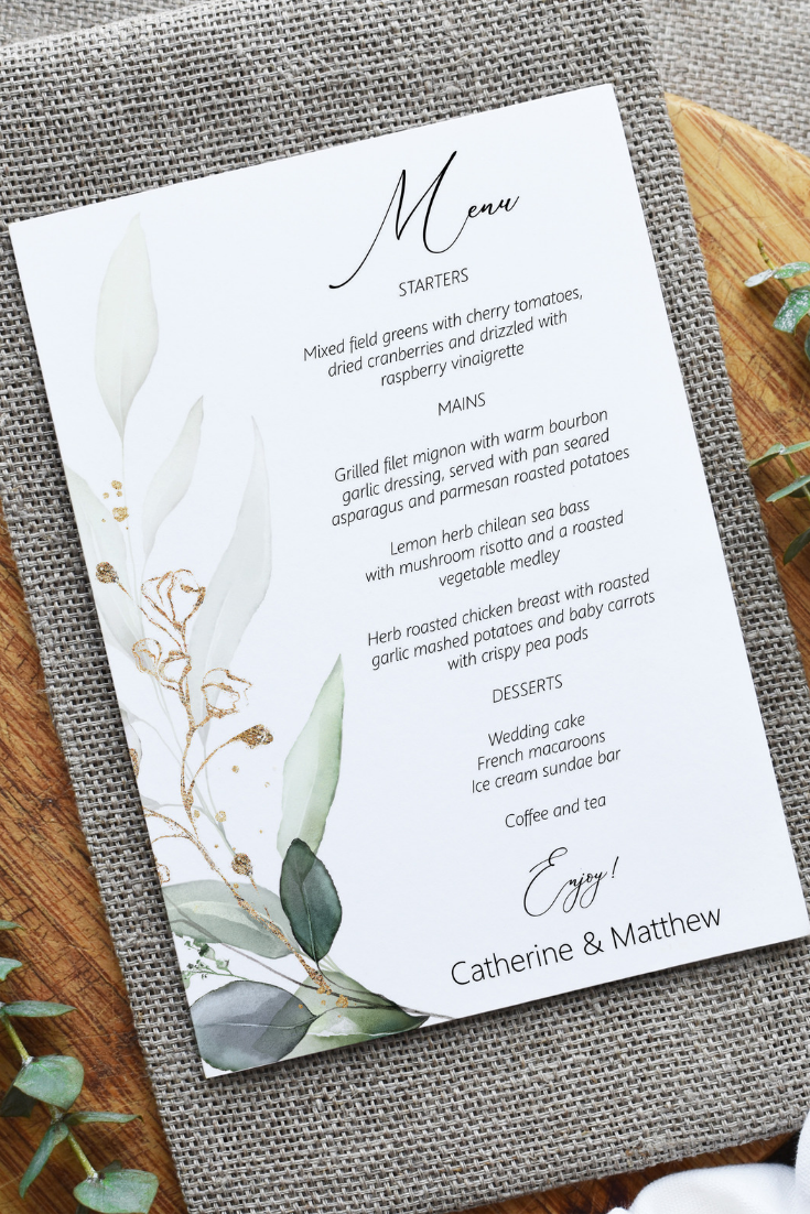 Greenery And Gold Leaf Menu Card Editable Template 5x7 Menu Etsy Printable Wedding Menu Cards Wedding Menu Cards Menu Cards