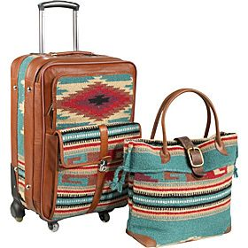 AmeriLeather Odyssey 2 Pc. Carry-On Set - Turquoise - via eBags ...