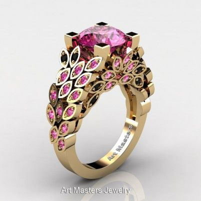 Art Masters Nature Inspired 14K Yellow Gold 3.0 Ct Pink Sapphire Black Diamond Engagement Ring R299-14KYGBDPS