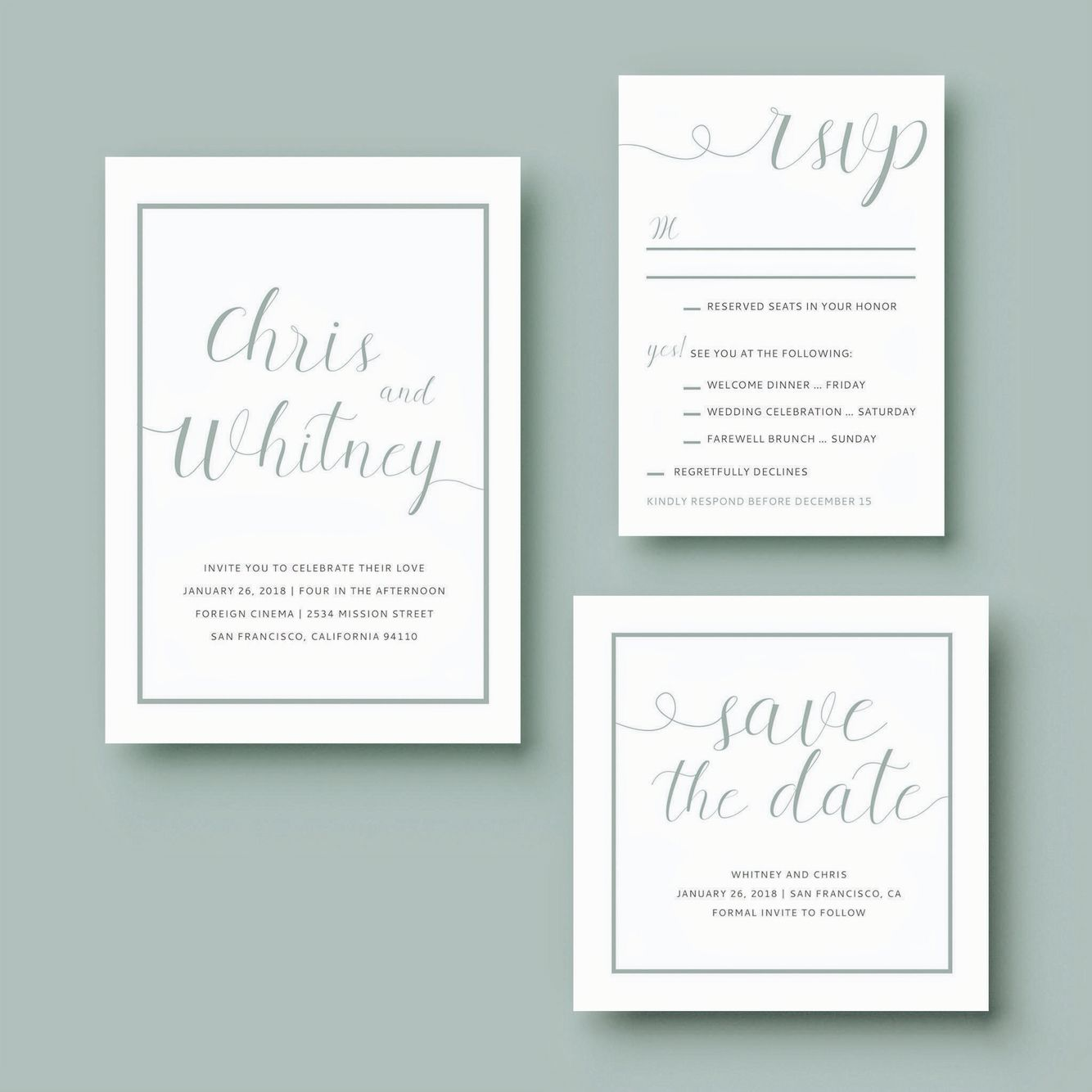 Celebrity Wedding Invites: Wedding Invitation Suite By Mint And Merit