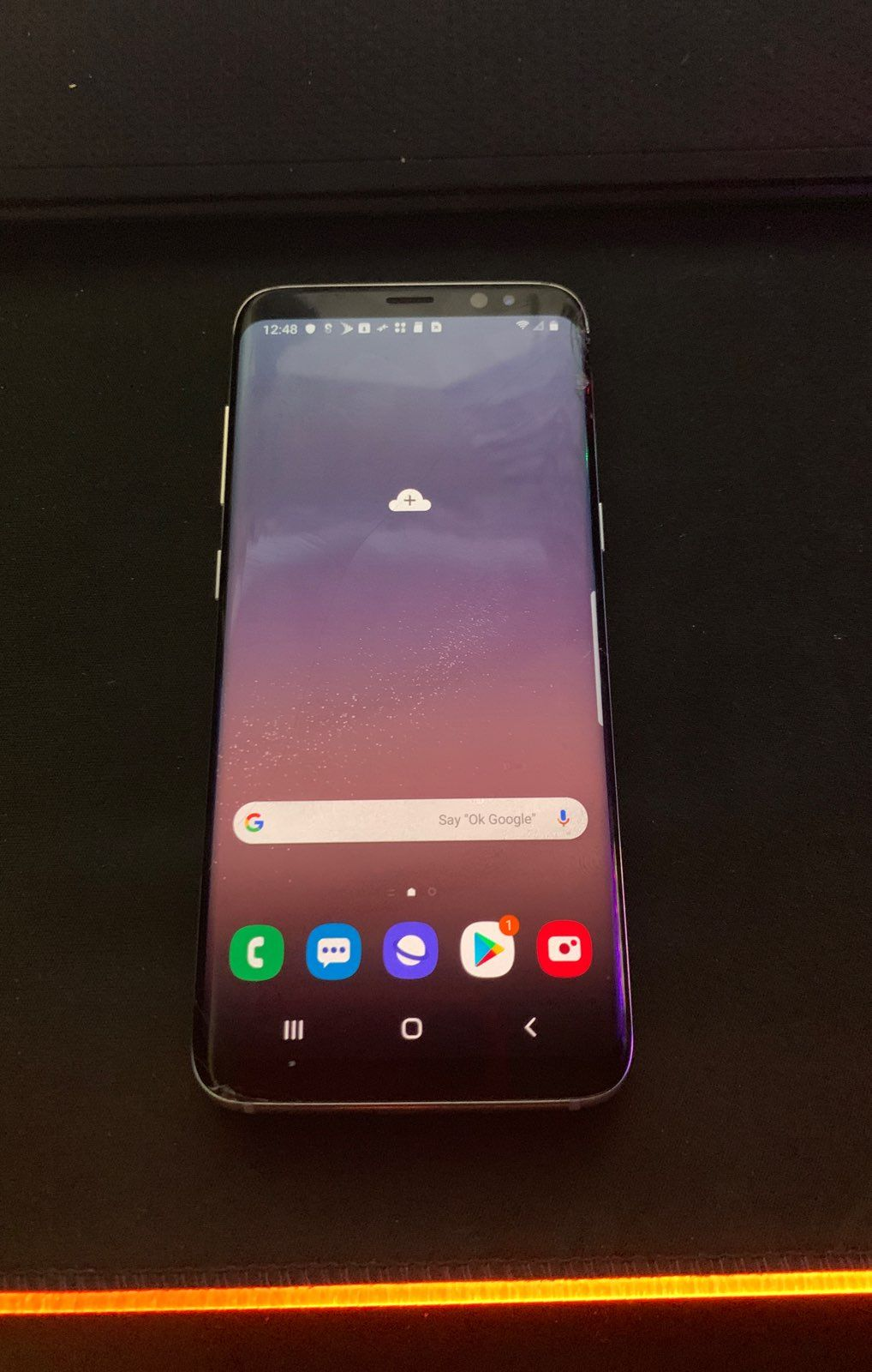 This is a Samsung galaxy s8 that has a bad esn and it's cracked on