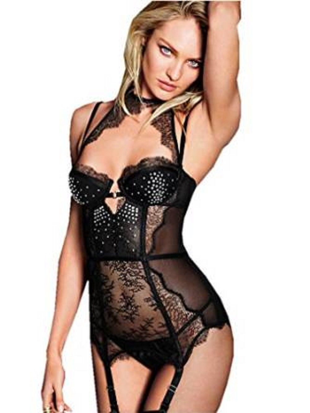 1ee37bc60f Victoria s Secret Embellished Chantilly Lace Merrywidow 34c Black ...