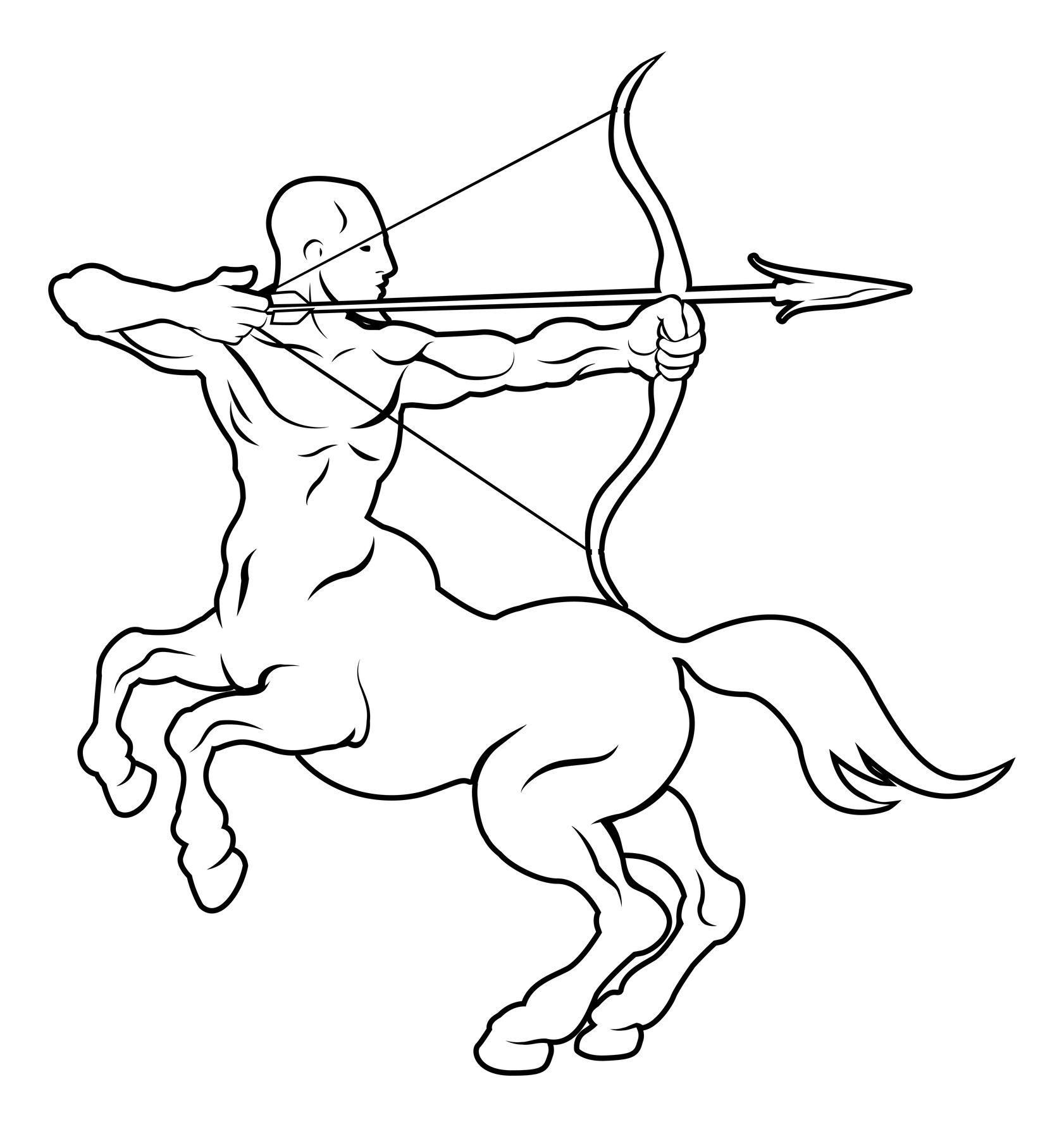 Outline Sagittarius Tattoo Design