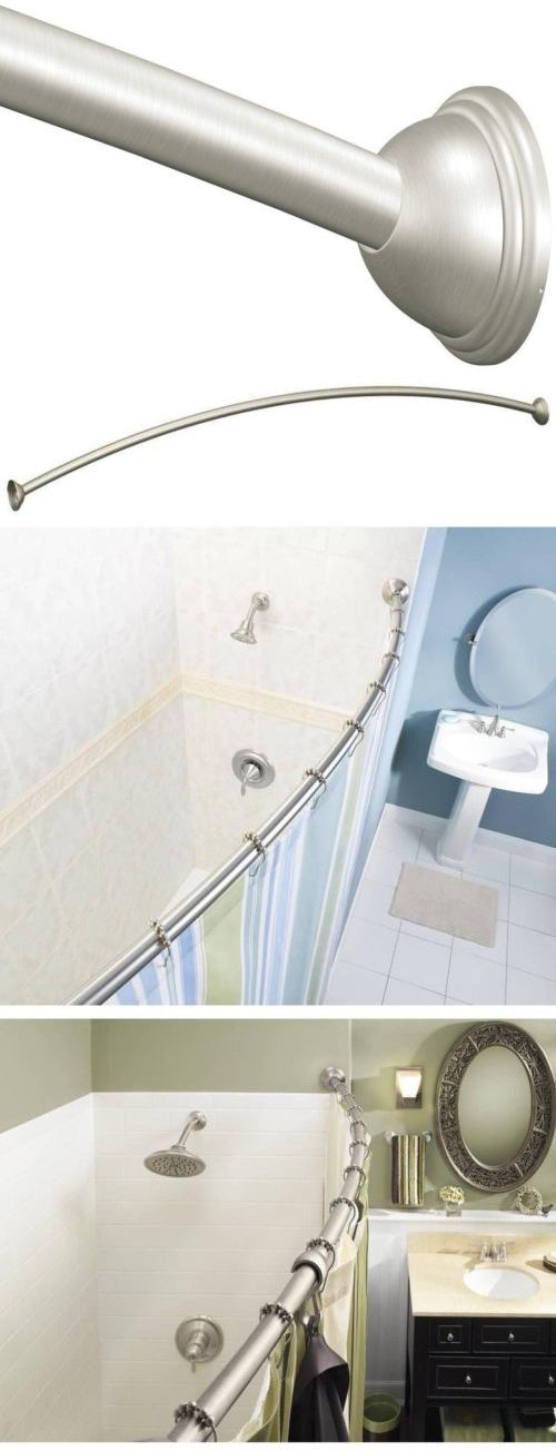 Shower Curtain Rods 168132: Adjustable Length Curved Shower Curtain Rod  Moen 54 72 Inch