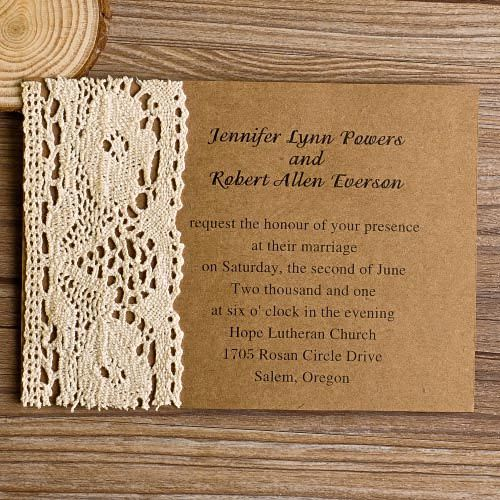 Vintage Lace Craft Paper Wedding Invites EWLS004 As Low As $1.79