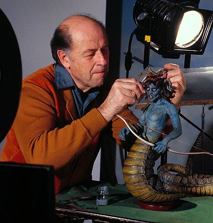 """Ray Harryhausen painting the Medusa model from """"The Clash of the ..."""