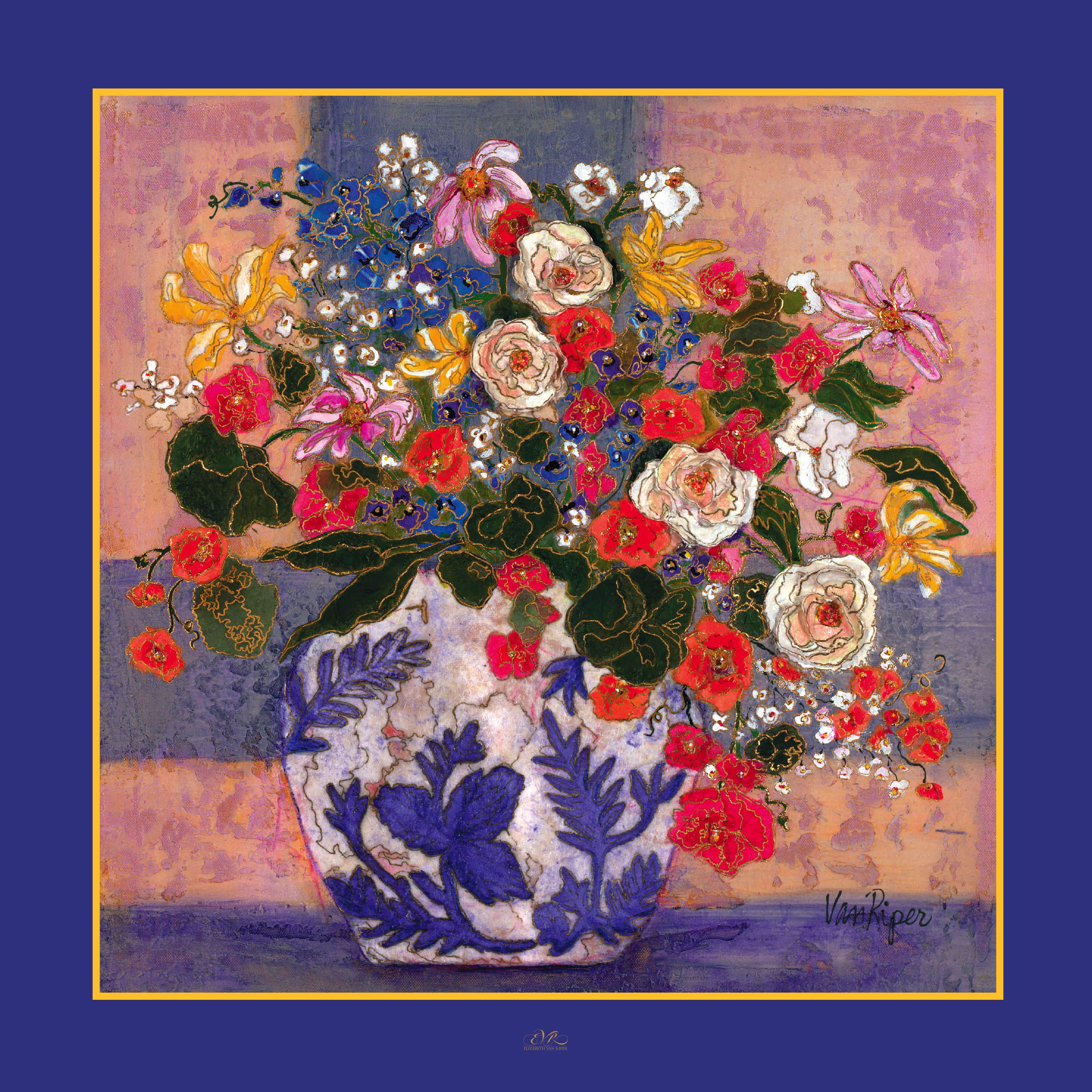 "LOVE this.. immensely - 38x38 100% 12mm silk scarf featuring original painting ""Lauren's Cache Pot"" by Elizabeth Van Riper"