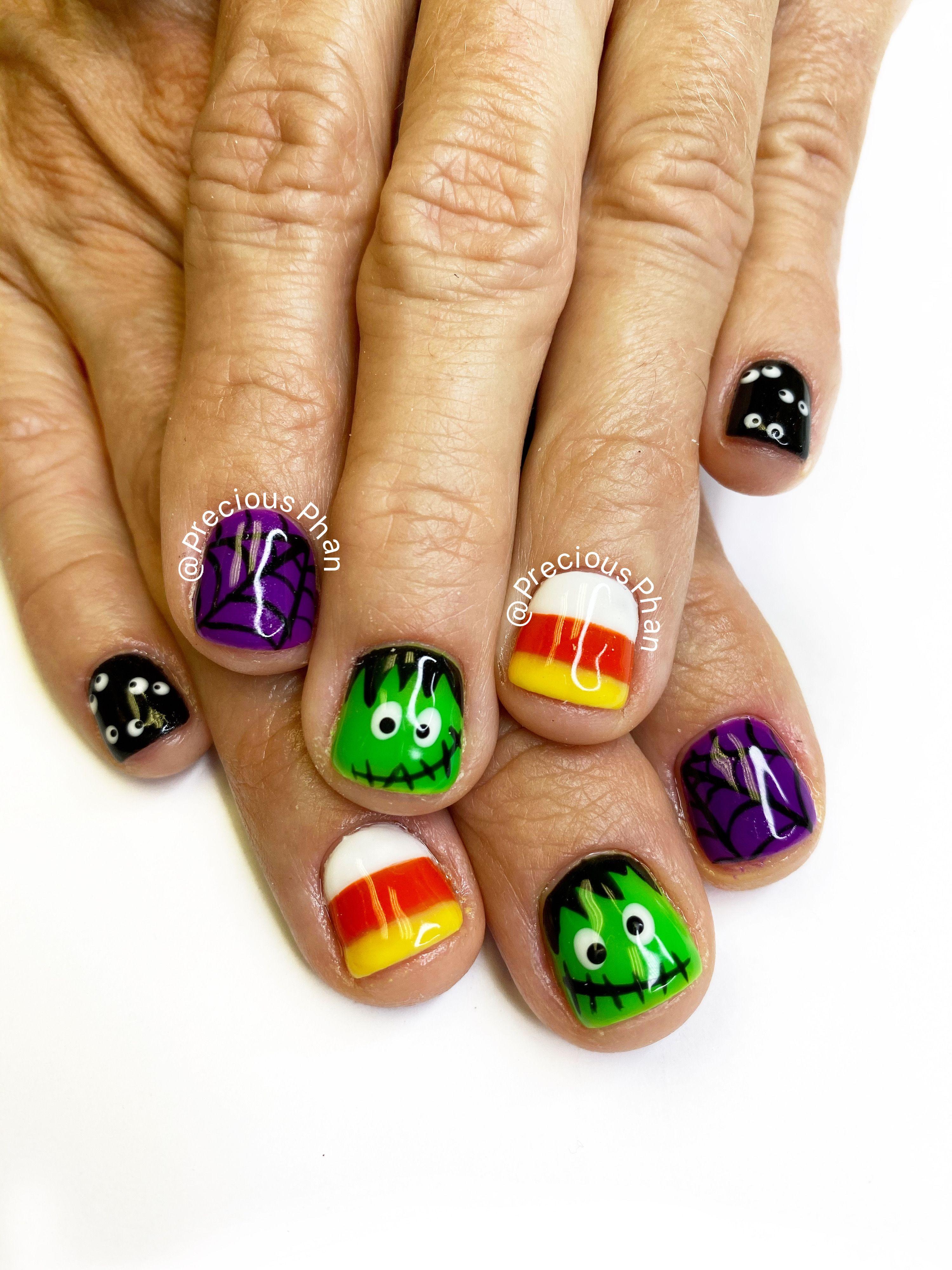 Candy corn nails, Frankenstein nails. spiderwebs nails ...