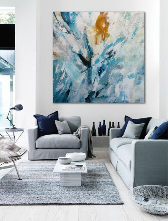 large abstract acrylic painting 90x90 cm metamorphosis on modern acrylic paintings for living room id=50367