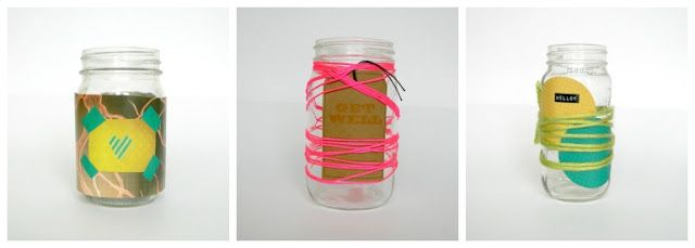 Fun ways to decorate mason jars, using items you have around your house. neon string, washi tape, yarn, magazine cut outs and more