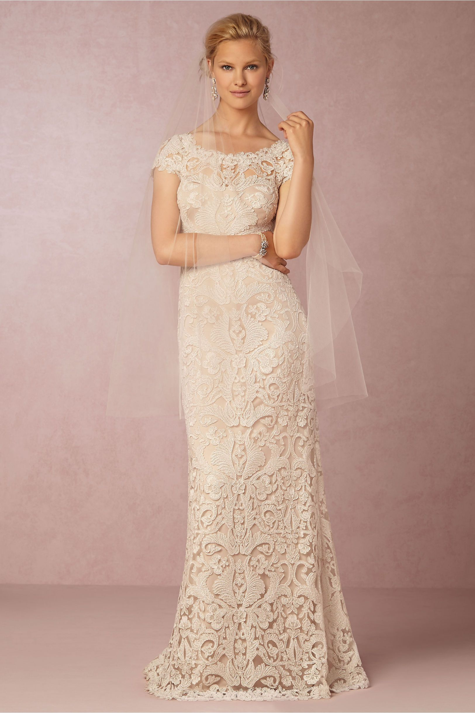 simple chic lace wedding dress | August Gown by Tadashi Shoji for ...