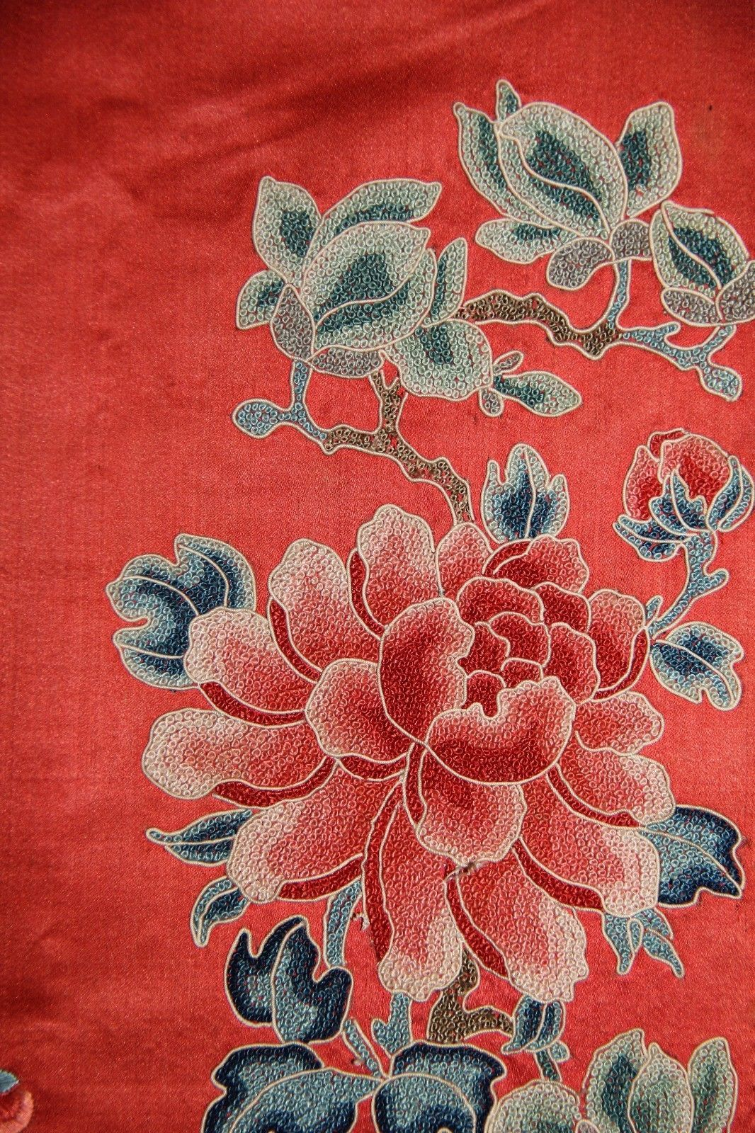 0d14d21bc Antique Chinese Red Robe Multicolored Floral Silk Embroidery 19 TH Century  | eBay