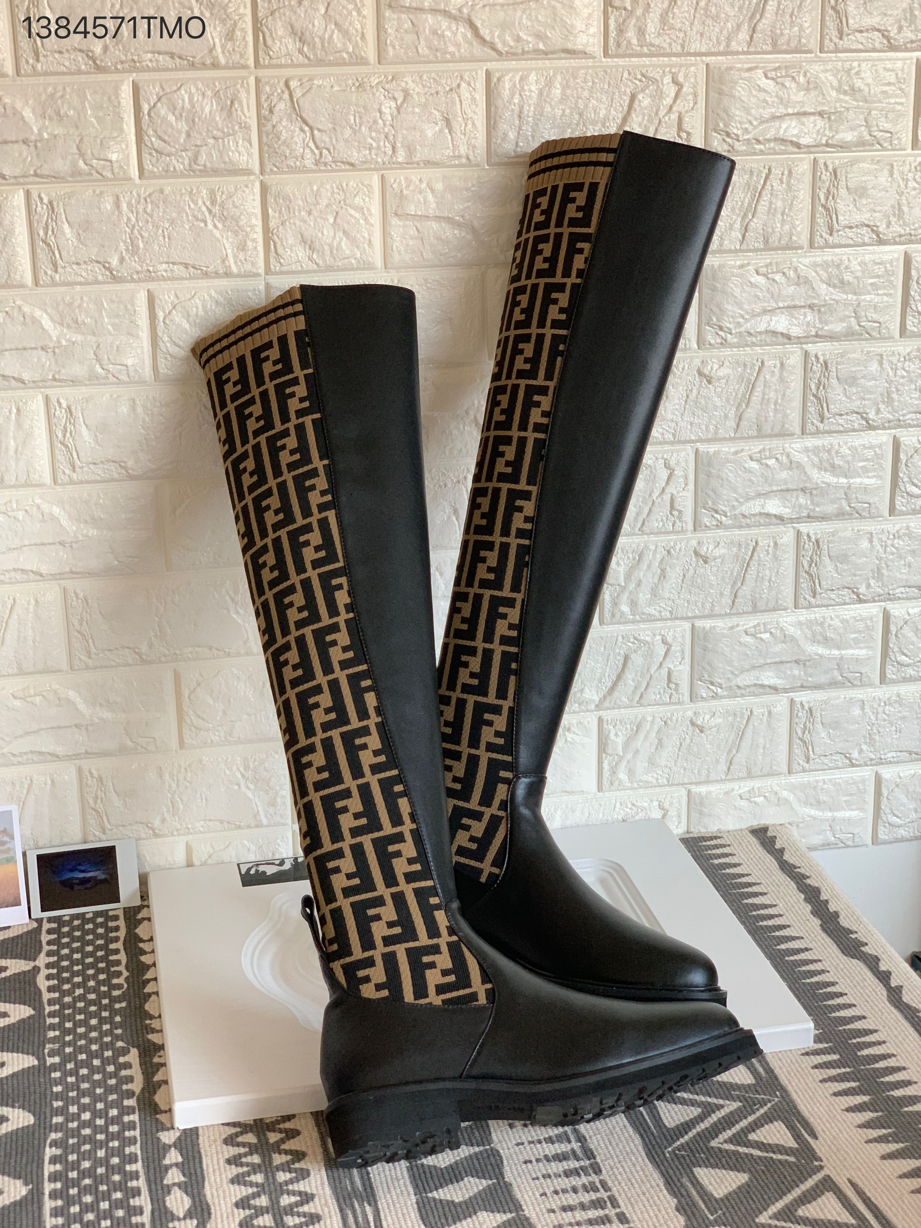 649e45682ed Fendi over knee high woman long boots FF knitted sock with leather tight  boot