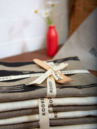 Love this - tea towel ribbon with diddy wooden fork