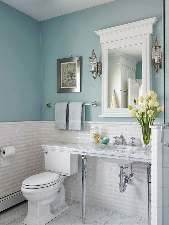 Changing Seasons: Sunny & Sophisticated Spring Bathroom Decor | Blue Bathroom Decor, Small Bathroom Vanities, Light Blue Bathroom
