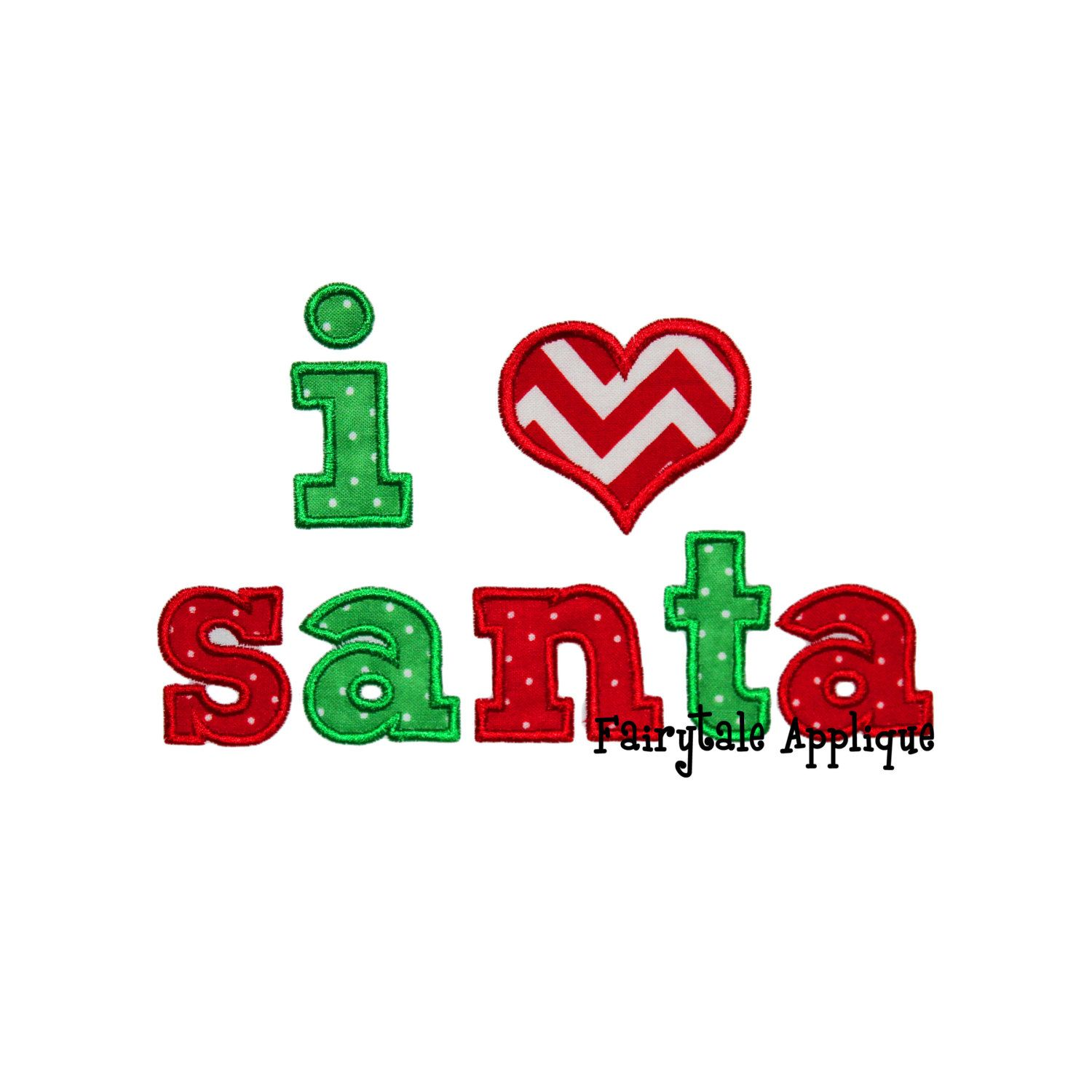 Digital Machine Embroidery Design - I love Santa Applique by FairytaleApplique on Etsy