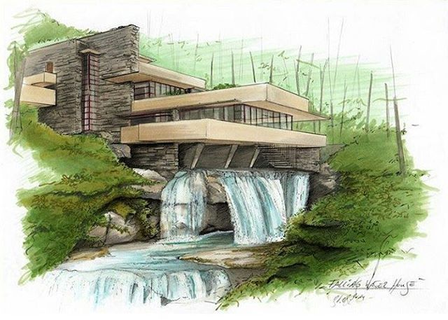 Falling Water House Amazing By Steviepoep Bestsketch Architecture Sket Falling Water House Water House Architecture Drawing