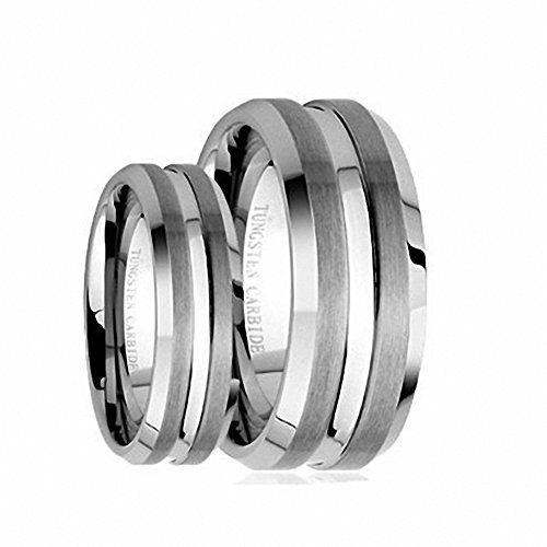 His  Hers 8MM6MM Brushed Center With Grooved Cut Tungsten Carbide Wedding Band Ring Set  Ladies Size 7  Mens Size 13 * Visit the image link more details. (This is an affiliate link) #WeddingandEngagement