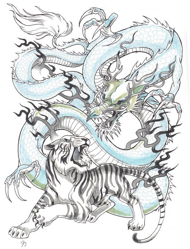 Tigre Et Dragon Animal Ink Tatouage Dragon Tatouage Tigre Et