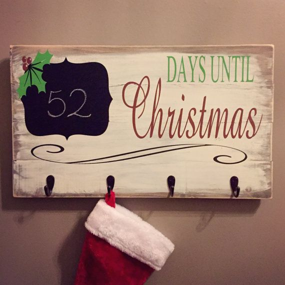 rustic christmas countdown u0026 stocking holder wooden signs christmas holiday decor stocking - Stocking Hangers For Mantle