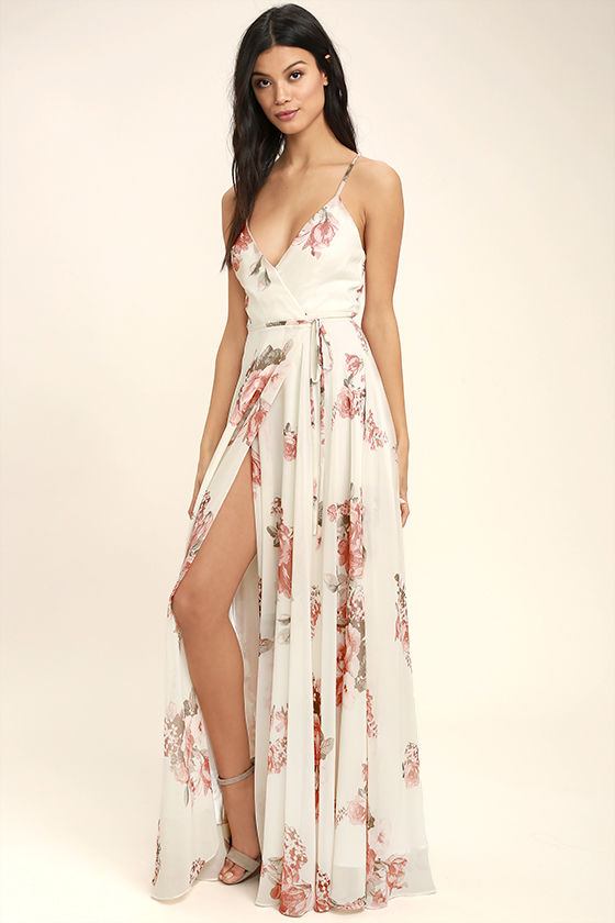 4884d06eb38 It s impossible to look anything but exquisite in the Elegantly Inclined  Cream Floral Print Wrap Maxi Dress! Lovely blush pink