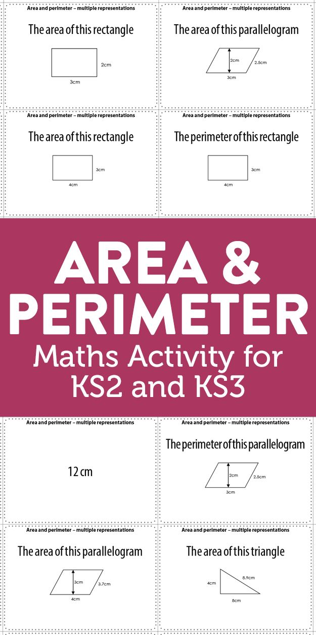 Area And Perimeter Maths Activity For Key Stage 2 And 3 Math Activities Math Learning Math