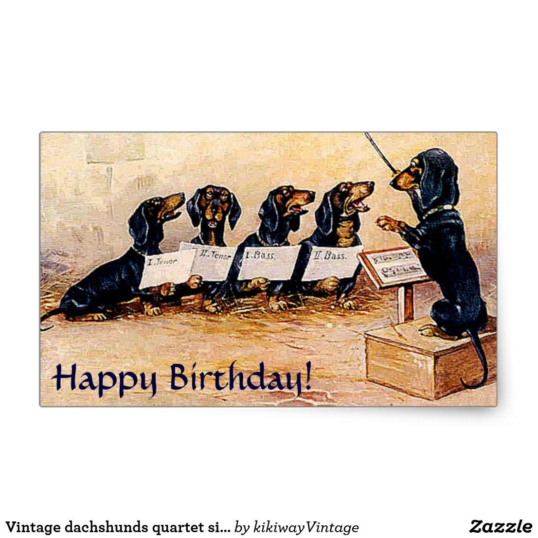 Vintage Dachshunds Quartet Singing Rectangular Sticker Zazzle