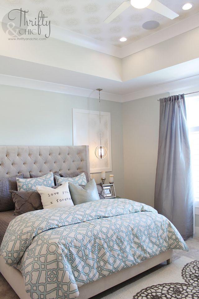 Schlafzimmer, Wohnen, Beruhigende Anstrich Farben, Blaue Bettwäsche,  Sonderlackierung, Decken Ideen, Traum Schlafzimmer, Traumzimmer, Chevron
