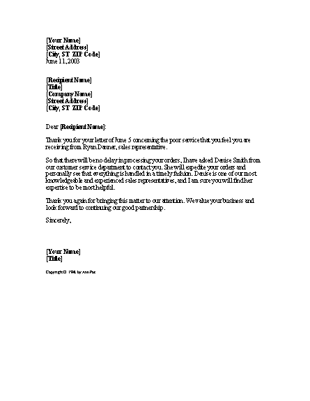 Complaint resolution letter templates colors for Letter of resolution template
