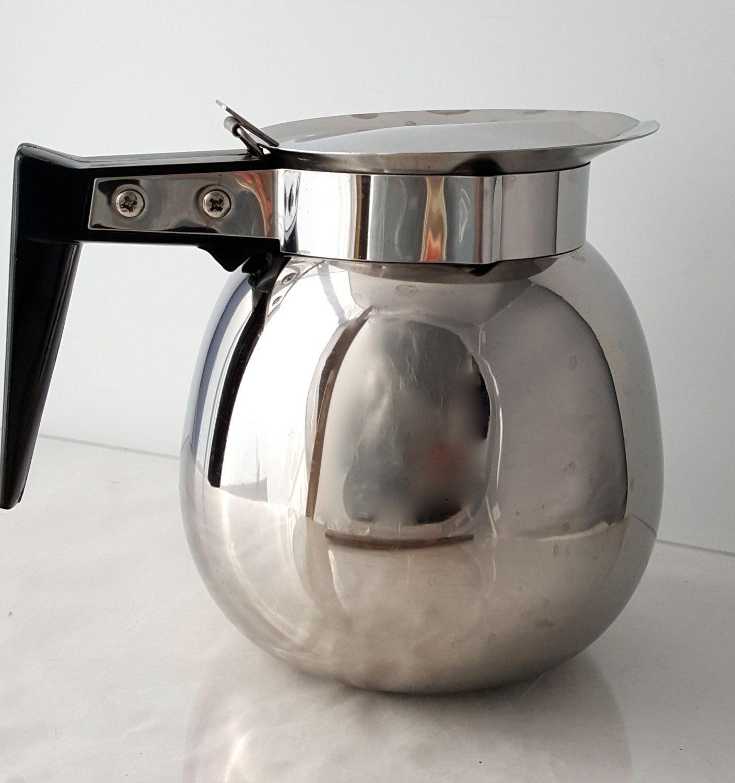 Vintage shiny stainless steel fliptop coffee pot carafe