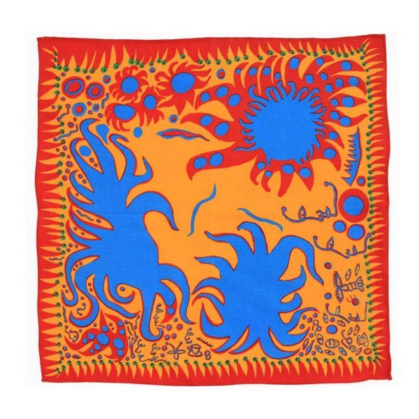 Joy I Feel When Love has Blossomed cotton handkerchief reproduces a painting by Yayoi Kusama from 2009. Yayoi Kusama is known for her bright colors, repetition, and patterns that can include entire ro