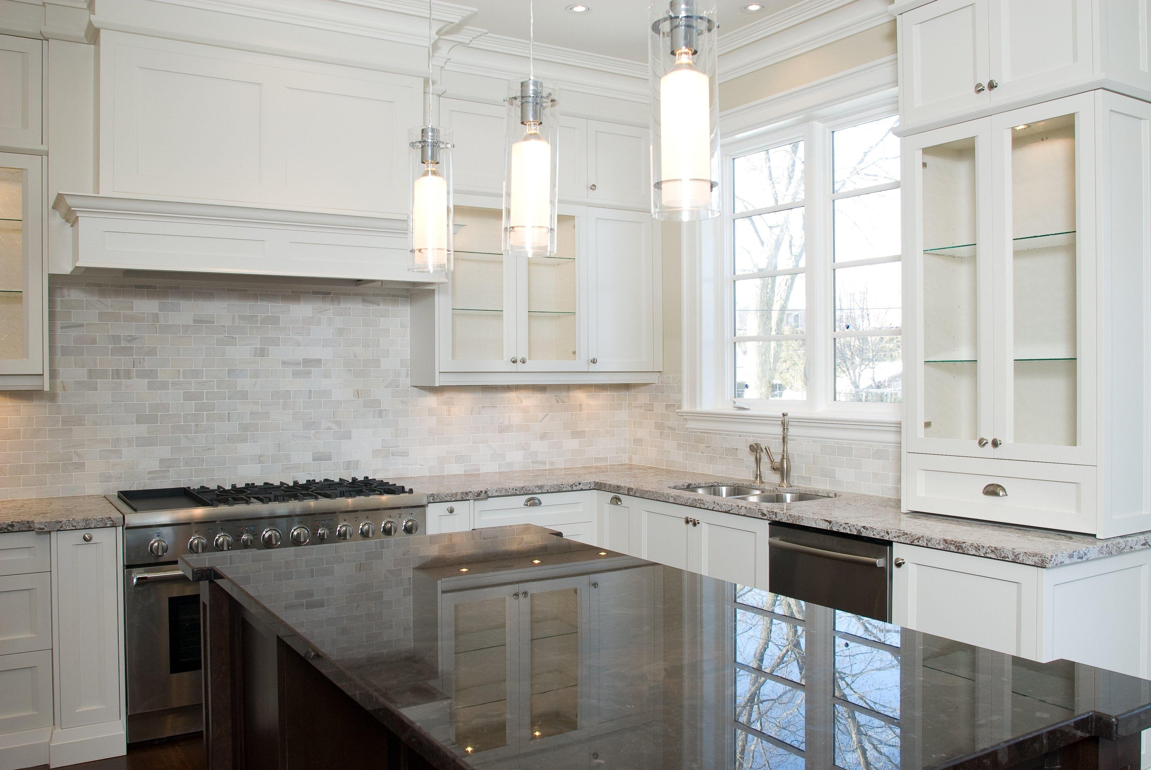 glass door built in fridge white ceramic tile floor Kitchens