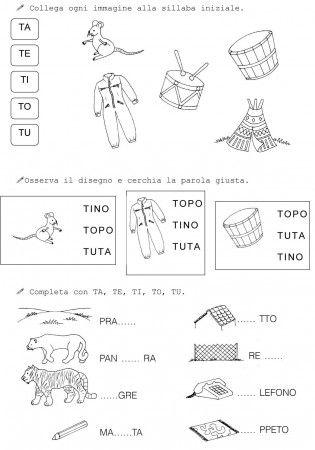 T di topo classe prima 2 schede didattiche pinterest school and montessori for Parole con gi
