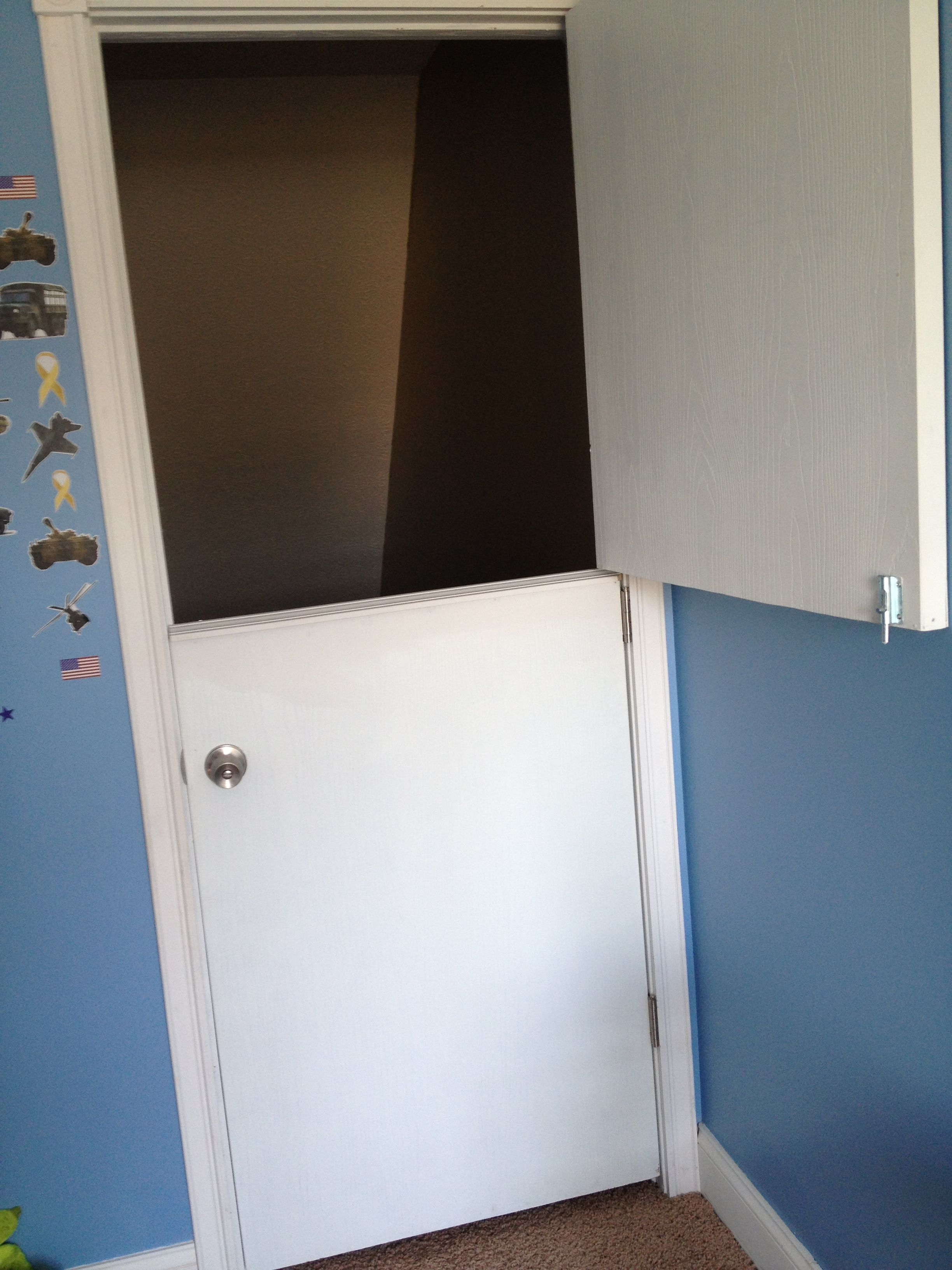 Diy Dutch Door For Toddler Room So Little Ones Can T Fall Down The Stairs Or Scale One Of Those Cheaply Made Child Gates Home Diy Diy Stairs Diy Household