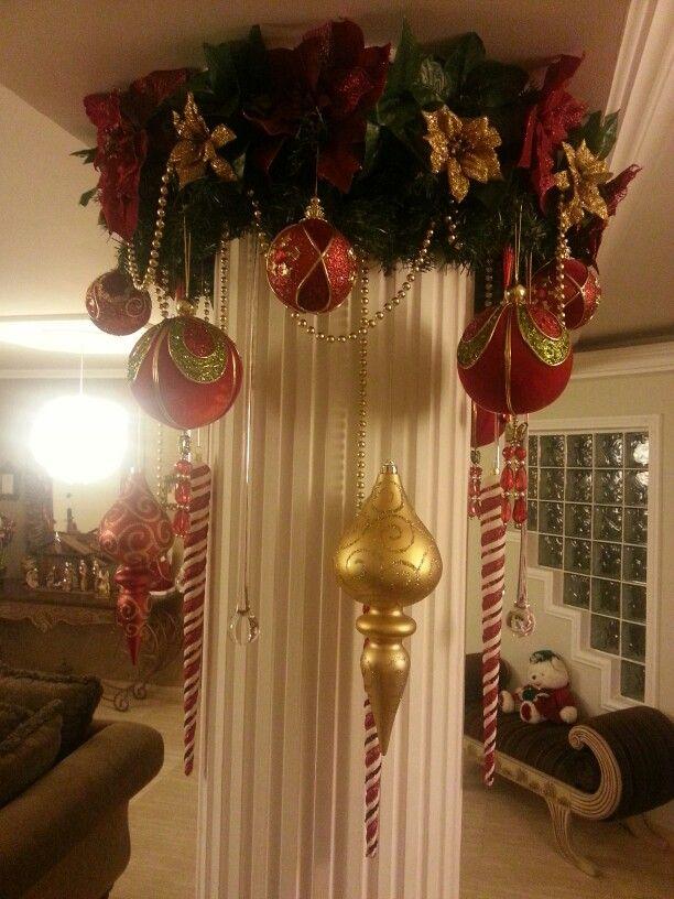 Columna Central Decoración Escaleras Navidad Decoraciones